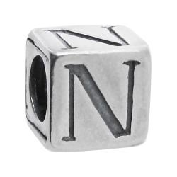 "Sterling Silver Dice Cube Letter N"" Bead Tube for European Charm Bracelets"