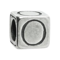 "Sterling Silver Dice Cube Letter O"" Bead Tube for European Charm Bracelets"