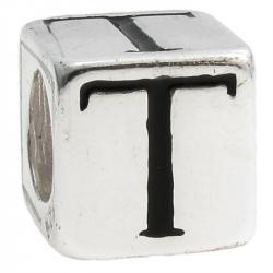 "Sterling Silver Dice Cube Letter T"" Bead Tube for European Charm Bracelets"