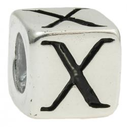 "Sterling Silver Dice Cube Letter X"" Bead Tube for European Charm Bracelets"