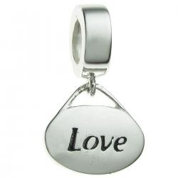 Sterling Silver Oval Love Dangle Bead for European Charm Bracelets