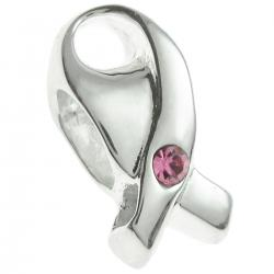 Sterling Silver Breast Cancer Ribbon Bead w/ Pink crystal for European Charm Bracelets