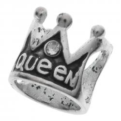 Sterling Silver QUEEN CROWN CZ for European Charm Bracelets