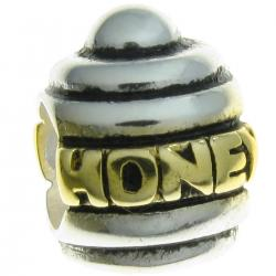 Gold 925 Sterling Silver HONEY BEE POT European Style Bead charm