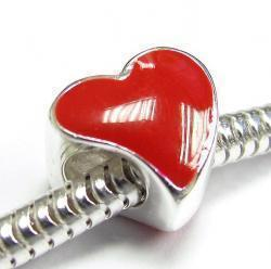 Sterling Silver Tilted Red Enamel Heart LOVE bead for European Bead charm Bracelet