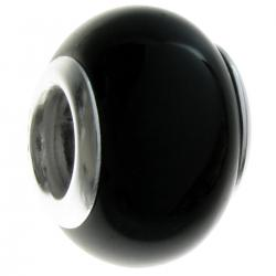 Sterling Silver Genuine Onyx Round Bead for European Charm Bracelets 12mm