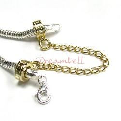 Sterling Silver Gold Plated Stopper Safety Chain Bead for European Charm Bracelets