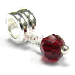 Sterling Silver BIRTHSTONE JULY DANLGE Bead Swarovski crystal for European Charm Bracelets