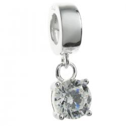 Sterling Silver Dangle CZ Stone Pendant Bead for European Charm Bracelets