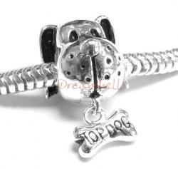 Sterling Silver DOG & Dangle BONE for European Charm Bracelets