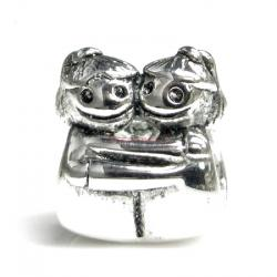 Sterling Silver Cute Happy Baby Twins Girl KID / Sisters w/ Smile Face Family Bead for European Charm Bracelets