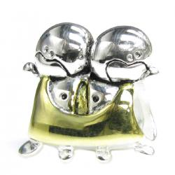 14K Gold 925 Sterling Silver CUTE BABY TWINS BOY KID Bead for European Charm Bracelets