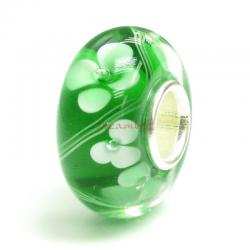 Sterling Silver Green Murano FLOWER Glass Bead for European Charm Bracelets 13.5mm
