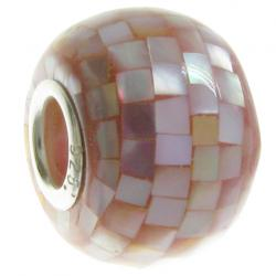 Sterling Silver Mosaic Mother of Pearl Bead for European Charm Bracelets/  MOP
