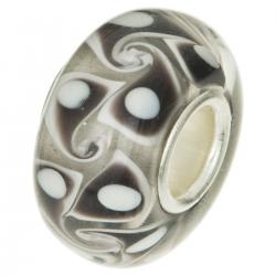 Sterling Silver Murano Flower Glass Dark Brown Bead for European Charm Bracelets