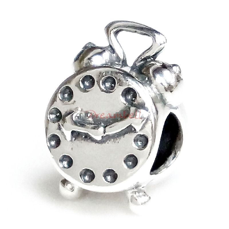 Sterling Silver Alarm Clock Bead for European Charm Bracelets
