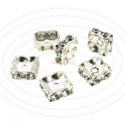 6x Swarovski Elements Silver Squaredelle Crystal Bead Spacer 5mm