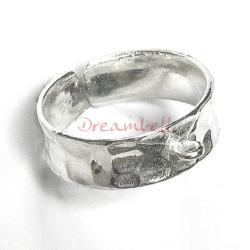 1 x BRIGHT 925 STERLING SILVE Hammered Ring Case (1 hole)