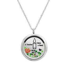 1x Stainless Steel Special Teacher Round Floating Locket Crystals Charm Chain Necklace Pendant 30mm