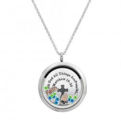 "1x Stainless Steel God Faith Prayer ""Matthew 19:26"" Round Floating Locket Crystals Charm Chain Necklace Pendant 30mm"
