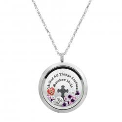 "1x Stainless Steel God Love ""Matthew 19:26"" Round Floating Locket Crystals Charm Chain Necklace Pendant 30mm"