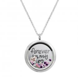 1x Stainless Steel Love Forever Sweet 16 Round Floating Locket Crystals Charm Chain Necklace Pendant 30mm