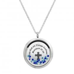 "1x Stainless Steel God Christ Cross ""Matthew 19:26"" Round Floating Locket Crystal Chain Necklace Pendant 30mm"