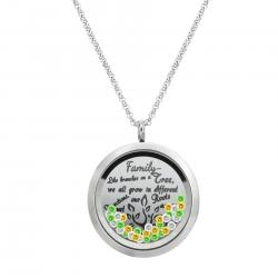 1x Stainless Steel Family Tree Round Floating Locket Crystal Chain Necklace Pendant 30mm