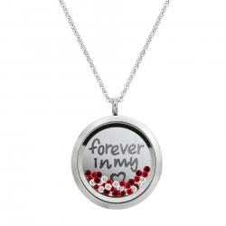 1x Stainless Steel Love Forever Round Floating Locket Crystal Chain Necklace Pendant 30mm