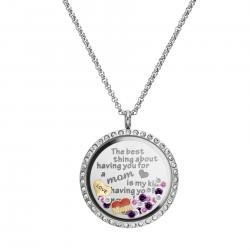 1x Stainless Steel Love Mother Family Round Floating Locket Crystals Charm Chain Necklace Pendant 30mm