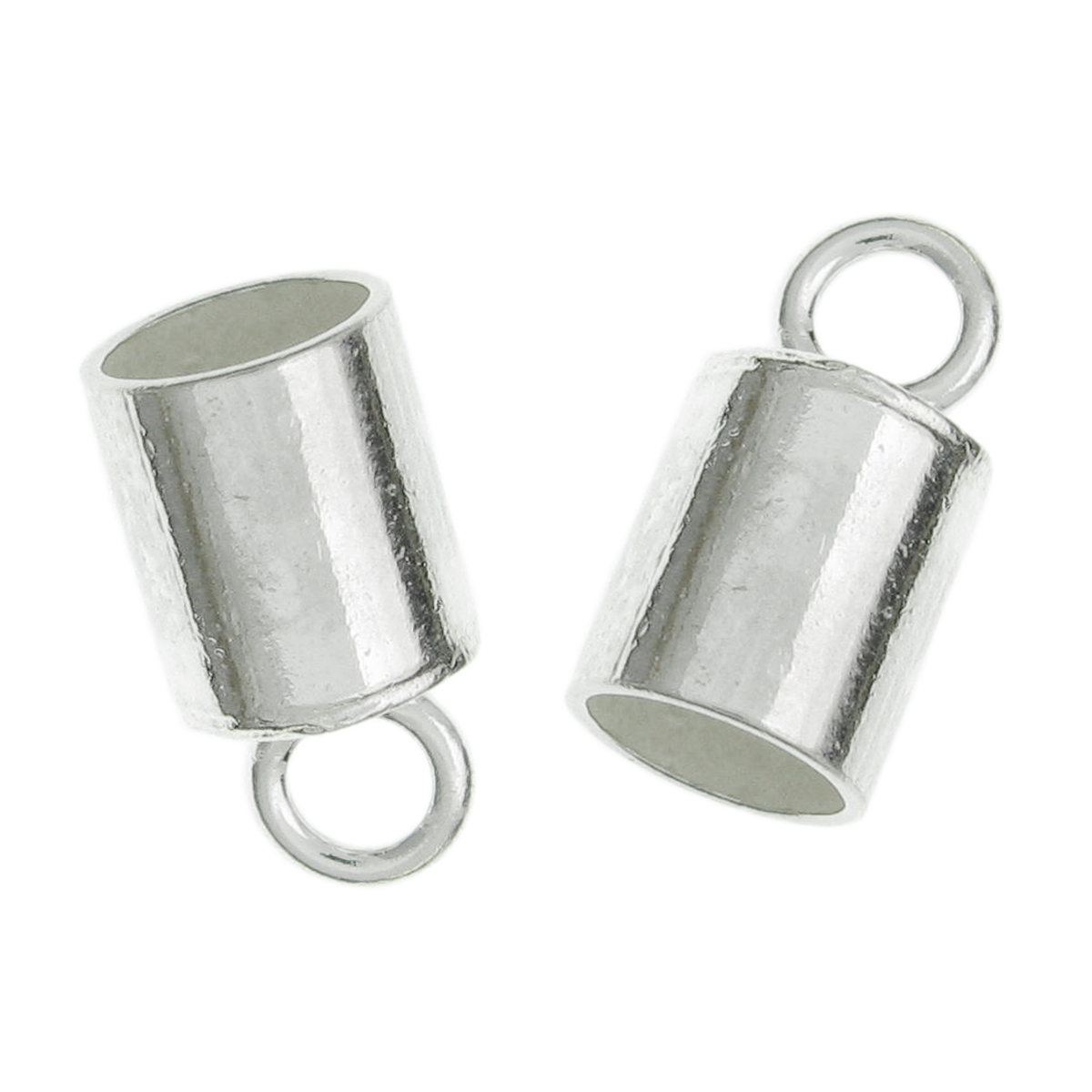 10x Sterling Silver Round End Caps for 4mm Leather Bead Cord