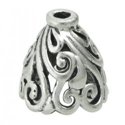 2x STERLING SILVER FLOWER Filigree Bead Cone cap 10mm