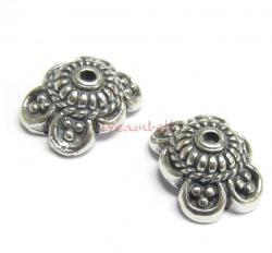 2x Sterling Silver Flower Lentil Bead Cap 11mm x 8.6mm