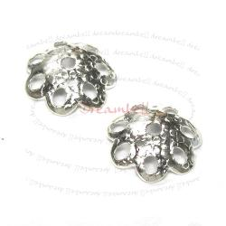 10X Bali Sterling silver Round Flower caps Bead 8mm