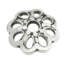 6x Sterling Silver Round Filigree Flower Bead Cap 6mm