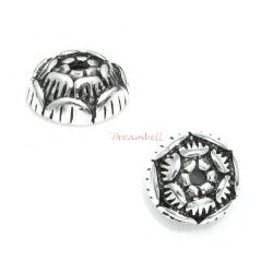 2x Bali 925 Sterling Silver Round Rose Flower Bud Bead Cap 6mm
