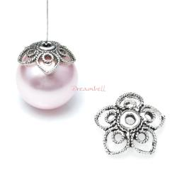 2x Antique 925 Sterling Silver Filigree Flower Pearl Bead Cap Cover 11mm
