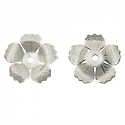 2x 925 Sterling Silver Blossoms Flower Leaf Bead Cap 9mm