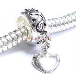 Sterling Silver bead Love HEART Dangle Bead for European Charm Bracelets