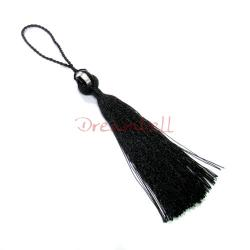Silver Murano foiled Black Glass Bead Tassel Fringe 7''