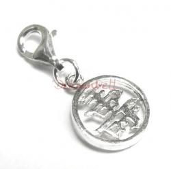 "Sterling Silver Chinese Word LONG LIFE"" Dangle Charm for European Style  Clip on Charm"""