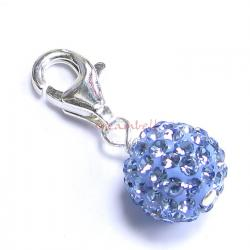 STERLING SILVER Ferido Crystal ROUND Sapphire Blue Pendant Charm Bead for European Style  Clip on Charm