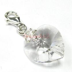 STERLING SILVER Swarovski Crystal Clear Heart Love Charm for European Style  Clip on Charm