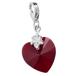 STERLING SILVER Swarovski Crystal Siam Red Heart Love Charm for European Style  Clip on Charm