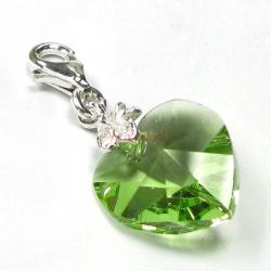 STERLING SILVER Swarovski Crystal Peridot Heart Love Charm for European Style  Clip on Charm