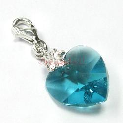 STERLING SILVER Swarovski Crystal Blue Heart Love Charm Bead for European Style  Clip on Charm