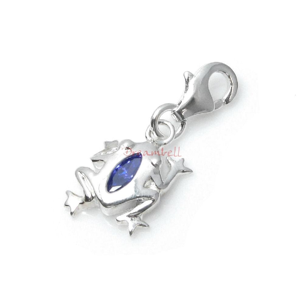 1x Sterling Silver Jumping Frog Purple CZ Crystal Dangle Charm Pendant for European Lobster Clip on Charm Bracelets