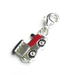 Sterling Silver Train Railway Engine Enamel Dangle European Clip on Charm w/ Lobster