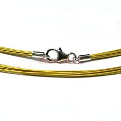 Rhodium Sterling Silver GOLD Tigertail  Wire necklace  w/ Lobster Clasp 45cm