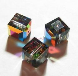 4x Swarovski Elements Crystal 5601 Cube Bead Vitrail Medium 6mm